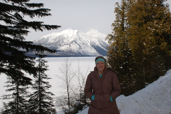 My mother-in-law Cathy at Lake McDonald in Glacier National Park