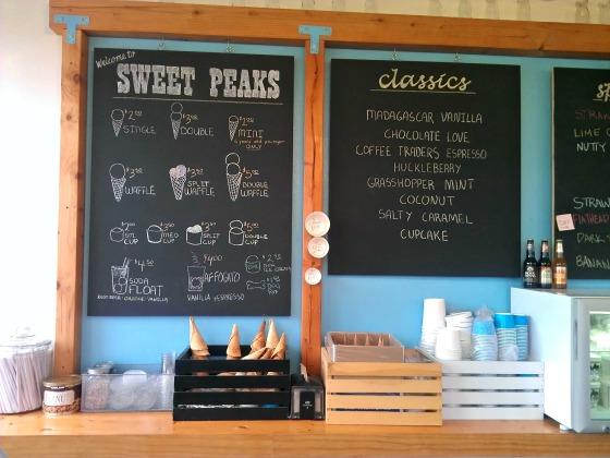 Sweet Peaks menu