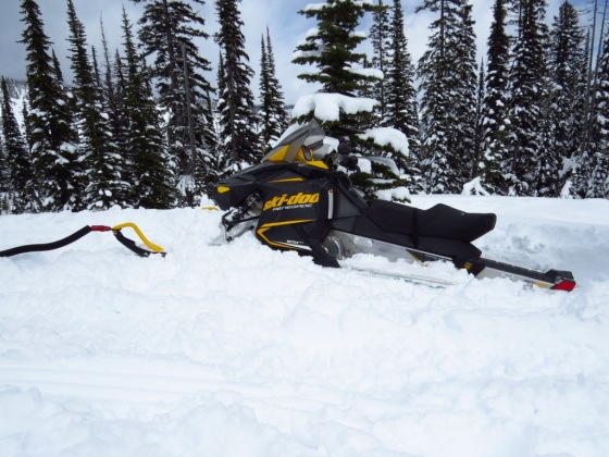 My snowmobile stuck deep!