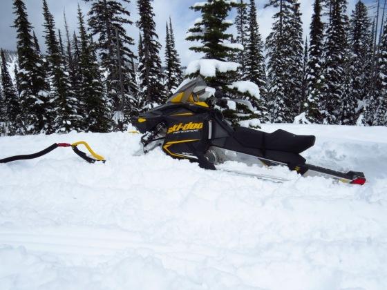 My snowmobile stuck deep!